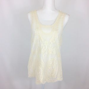 One World Live and Let Live Tank Top Lace Overlay